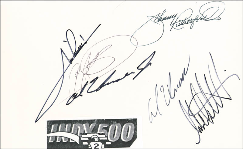 Image 1 for Mario Andretti - Autograph co-signed by: Al Unser Jr., Al Unser, Michael M. Andretti, A. J. Foyt, Johnny Rutherford - HFSID 54853