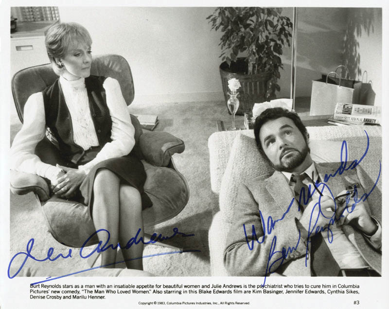 Image 1 for Man Who Loved Women Movie Cast - Autographed Signed Photograph 1983 co-signed by: Julie Andrews, Burt Reynolds - HFSID 55017