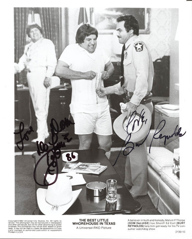 Image 1 for Best Little Whorehouse In Texas Movie Cast - Autographed Signed Photograph 1986 co-signed by: Dom Deluise, Burt Reynolds - HFSID 55084