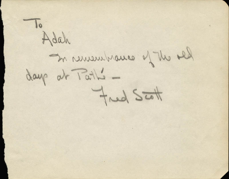 Image 1 for Fred L. 'The Singing Buckaroo' Scott - Autograph Note Signed - HFSID 55142