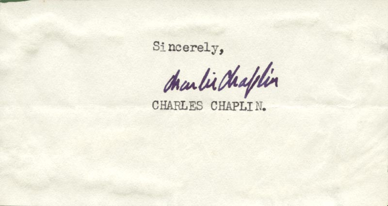 Image 1 for Charlie 'The Little Tramp' Chaplin - Autograph - HFSID 55373
