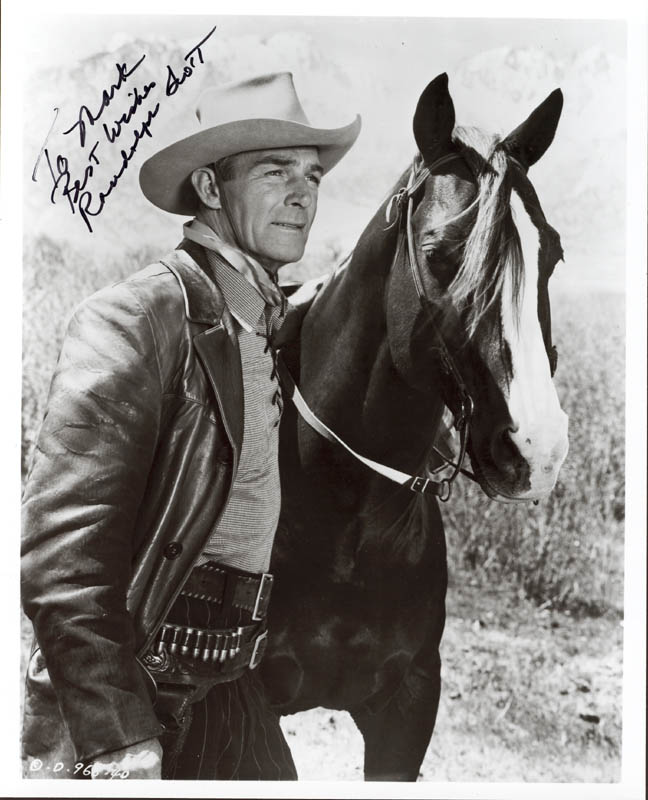 Image 1 for Randolph Scott - Autographed Inscribed Photograph - HFSID 5546