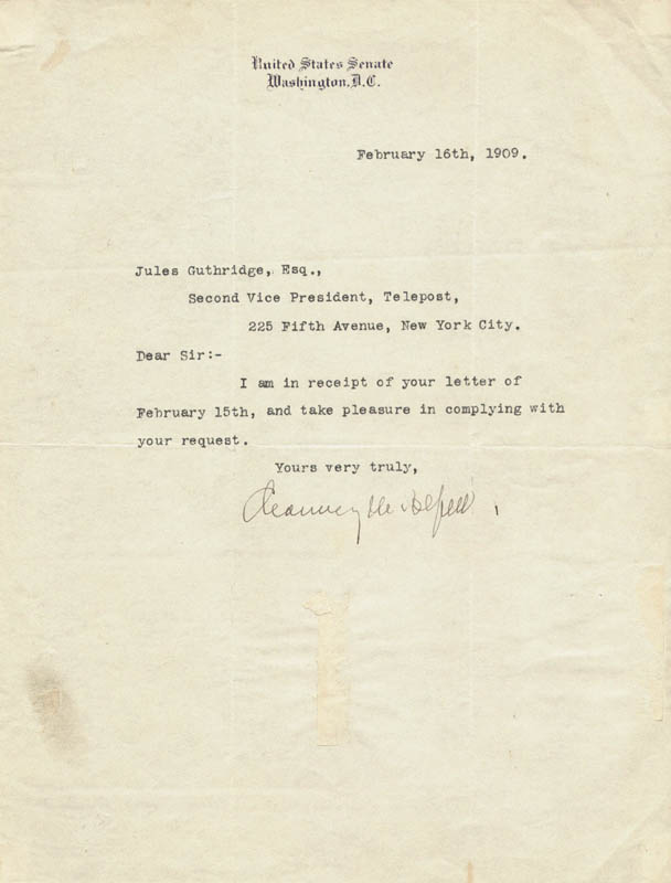 Image 1 for Chauncey M. Depew - Typed Letter Signed 02/16/1909 - HFSID 55573