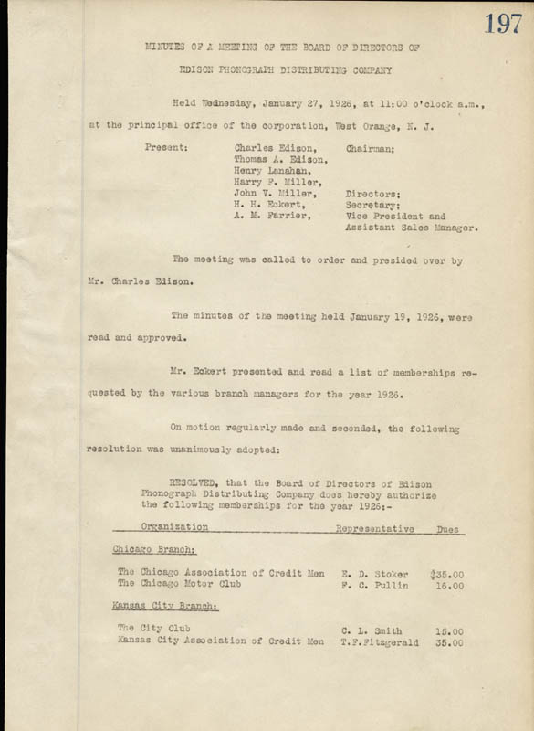 Image 3 for Thomas A. Edison - Corporate Minutes Signed 01/27/1926 with co-signers - HFSID 55580