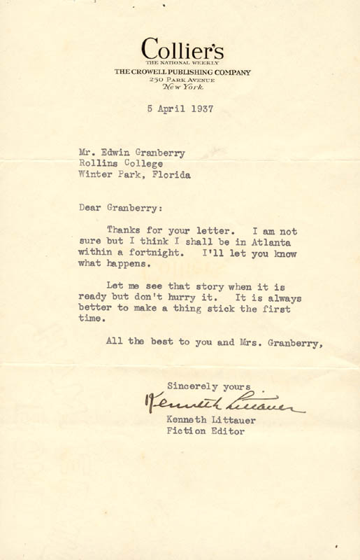 Image 1 for Kenneth Littauer - Typed Letter Signed 04/05/1937 - HFSID 55631