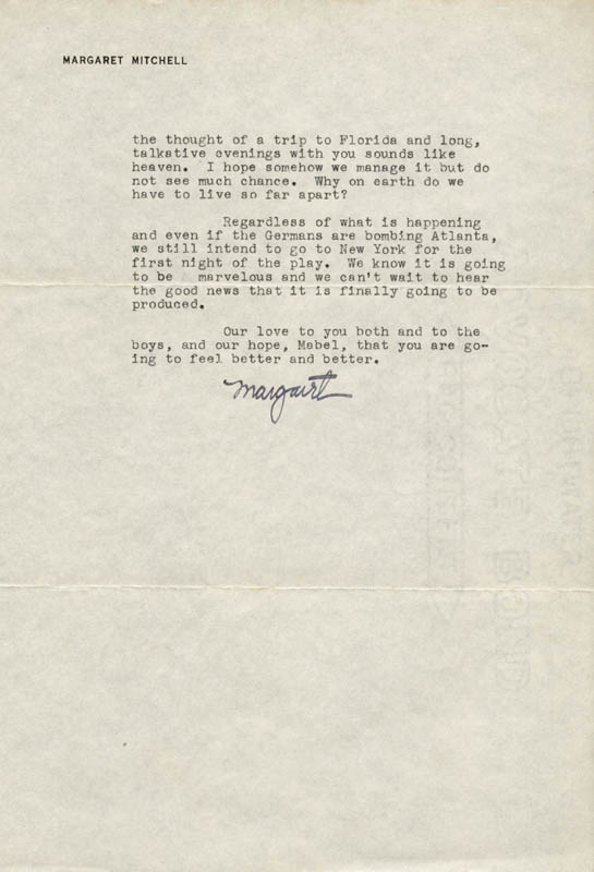 Image 1 for Margaret Mitchell - Typed Letter Signed 11/11/1941 - HFSID 55659