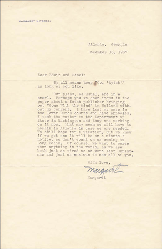 Image 1 for Margaret Mitchell - Typed Letter Signed 12/15/1937 - HFSID 55663