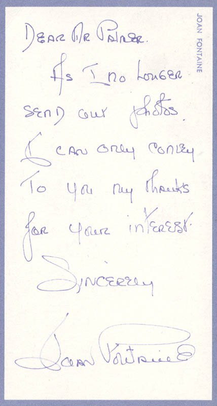 Image 1 for Joan Fontaine - Autograph Letter Signed 08/29/1973 - HFSID 557