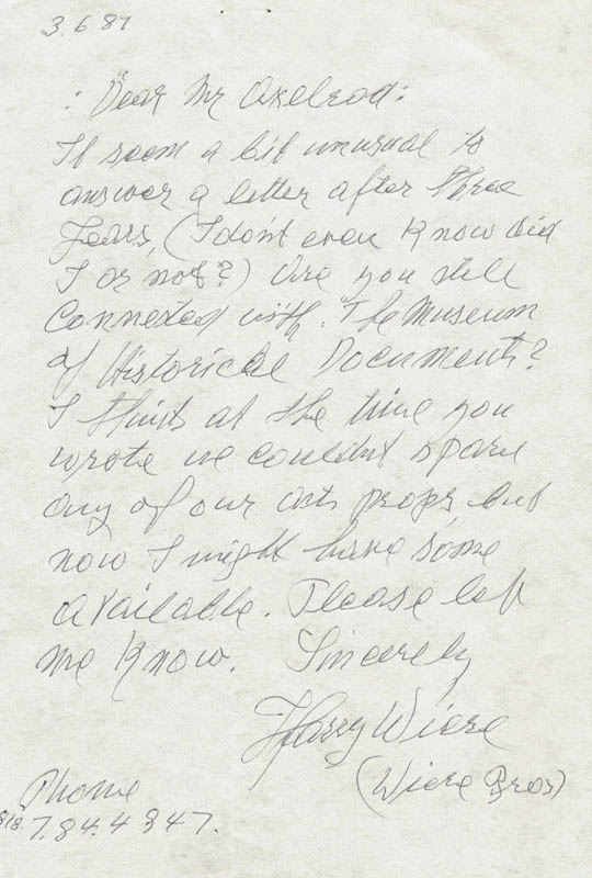 Image 1 for Harry Wiere - Autograph Letter Signed 03/06/1987 - HFSID 55762