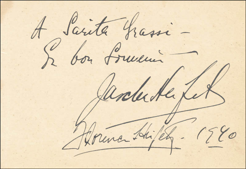 Image 3 for Jascha Heifetz - Autograph Note Signed 1940 co-signed by: Florence Heifetz, Marta Eggerth - HFSID 56018