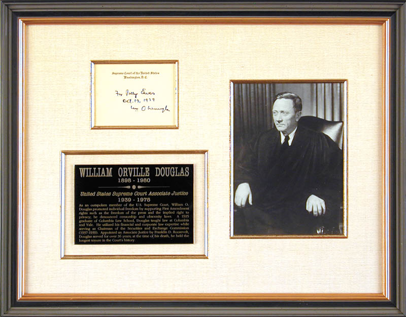 Image 1 for Associate Justice William O. Douglas - Inscribed Supreme Court Card Signed 10/19/1939 - HFSID 5626