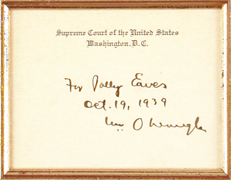 Image 3 for Associate Justice William O. Douglas - Inscribed Supreme Court Card Signed 10/19/1939 - HFSID 5626
