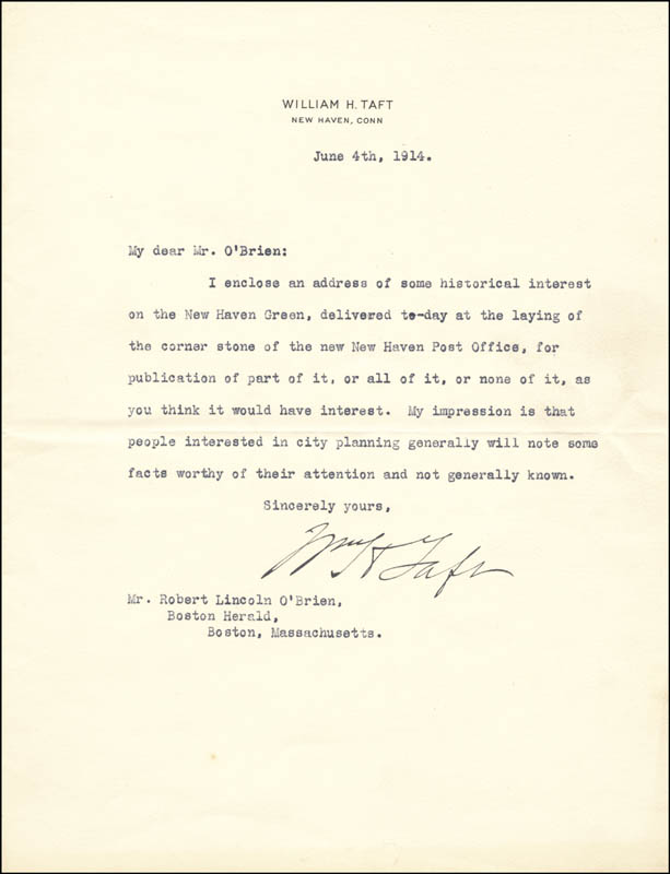 Image 1 for President William H. Taft - Typed Letter Signed 06/04/1914 - HFSID 5643