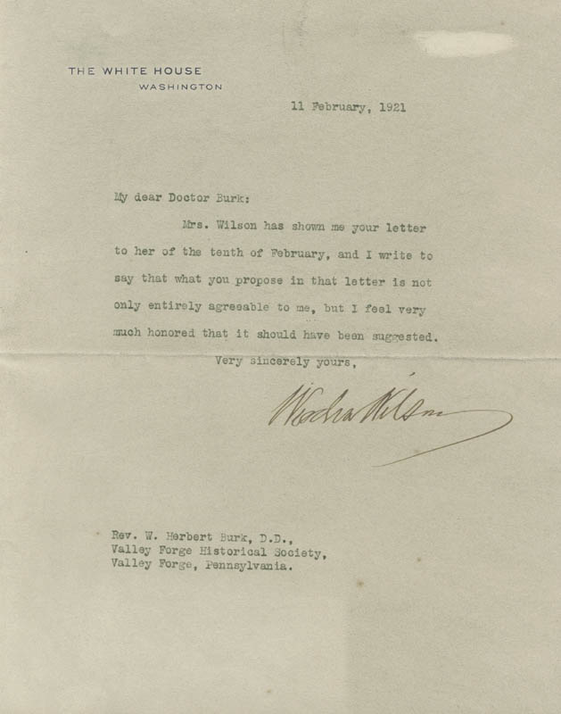 Image 1 for President Woodrow Wilson - Typed Letter Signed 02/11/1921 - HFSID 5649