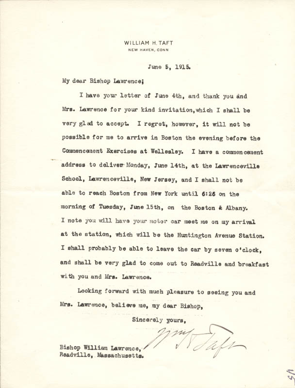 Image 1 for President William H. Taft - Typed Letter Signed 06/05/1915 - HFSID 56629