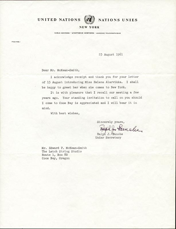 Image 1 for Ralph J. Bunche - Typed Letter Signed 08/23/1961 - HFSID 56656