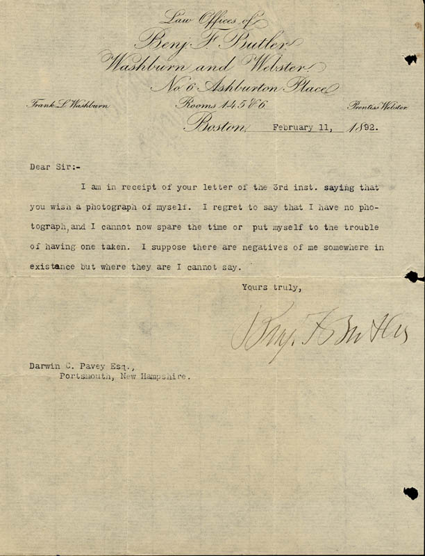 Image 1 for Major General Benjamin F. Butler - Typed Letter Signed 02/11/1892 - HFSID 56661