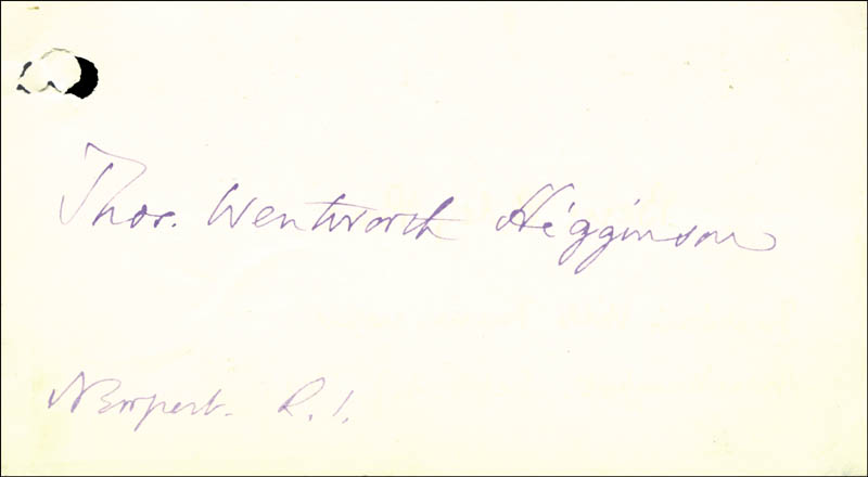 Image 1 for Thomas W. Higginson - Autograph - HFSID 56706