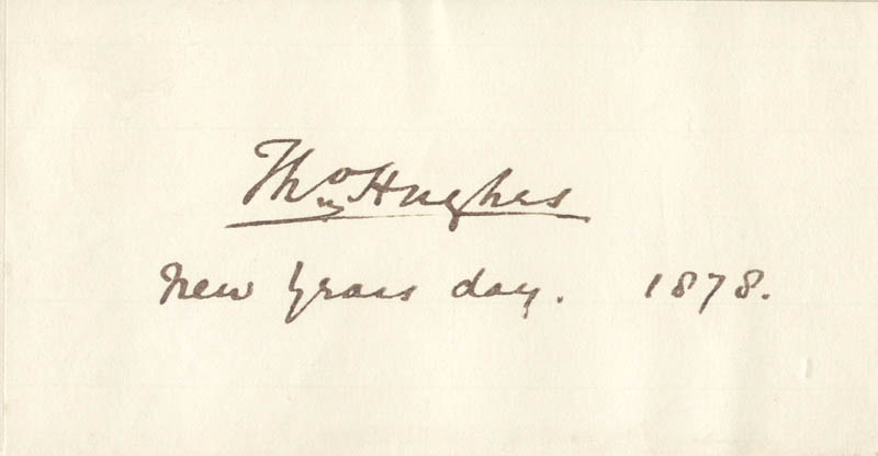 Image 1 for Thomas Hughes - Autograph 01/01/1878 - HFSID 56733