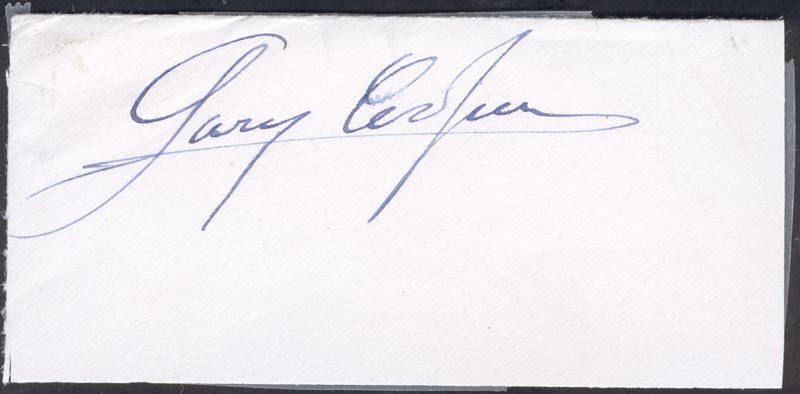 Image 1 for Gary Cooper - Autograph - HFSID 56990