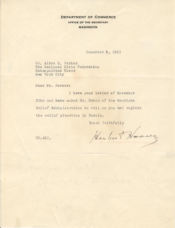 Image 1 for President Herbert Hoover - Typed Letter Signed 12/02/1921 - HFSID 57238