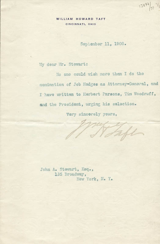 Image 1 for President William H. Taft - Typed Letter Signed 09/11/1908 - HFSID 57258