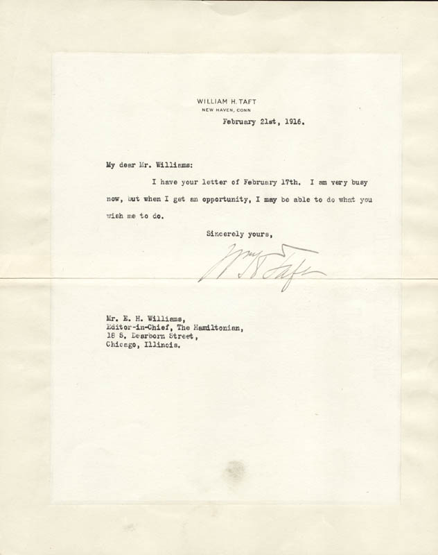 Image 1 for President William H. Taft - Typed Letter Signed 02/21/1916 - HFSID 57263