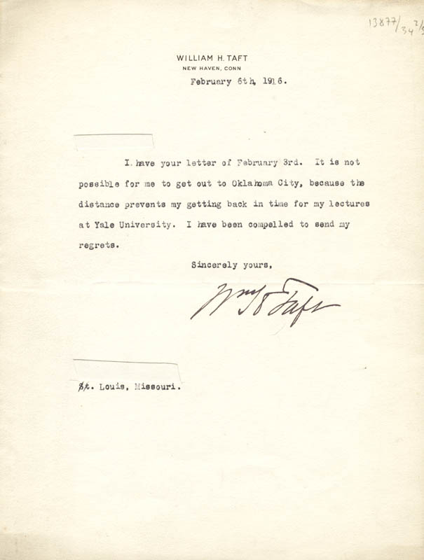 Image 1 for President William H. Taft - Typed Letter Signed 02/06/1916 - HFSID 57265