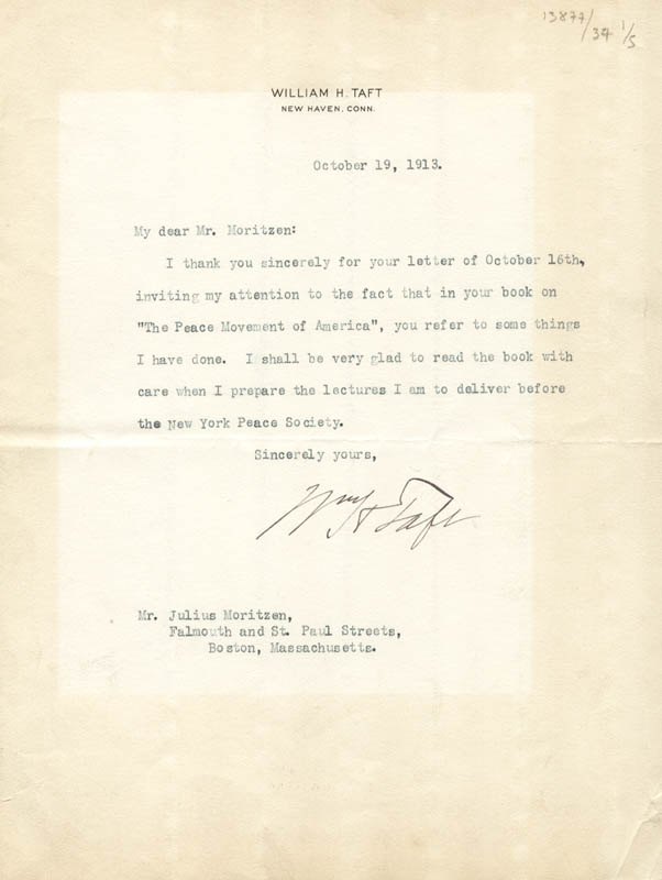 Image 1 for President William H. Taft - Typed Letter Signed 10/19/1913 - HFSID 57266