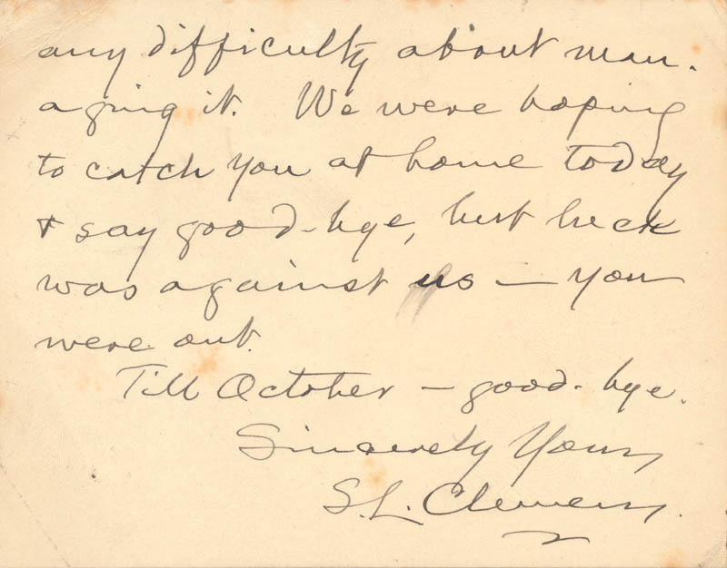 Image 3 for Samuel L. 'Mark Twain' Clemens - Autograph Letter Signed 07/01 - HFSID 5745