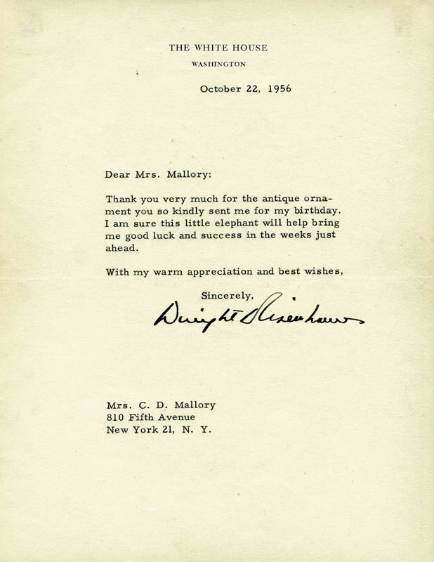 Image 1 for President Dwight D. Eisenhower - Typed Letter Signed 10/22/1956 - HFSID 5896