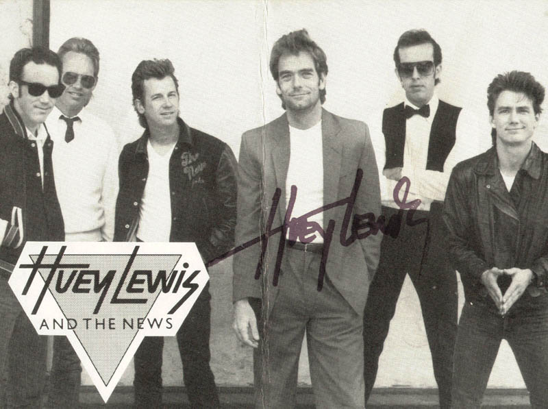 Image 1 for Huey Lewis & The News (Huey Lewis) - Picture Post Card Signed - HFSID 59186
