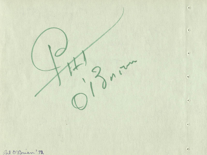 Image 1 for Pat O'Brien - Autograph co-signed by: Frank Deford - HFSID 59330