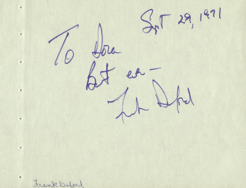 Image 3 for Pat O'Brien - Autograph co-signed by: Frank Deford - HFSID 59330