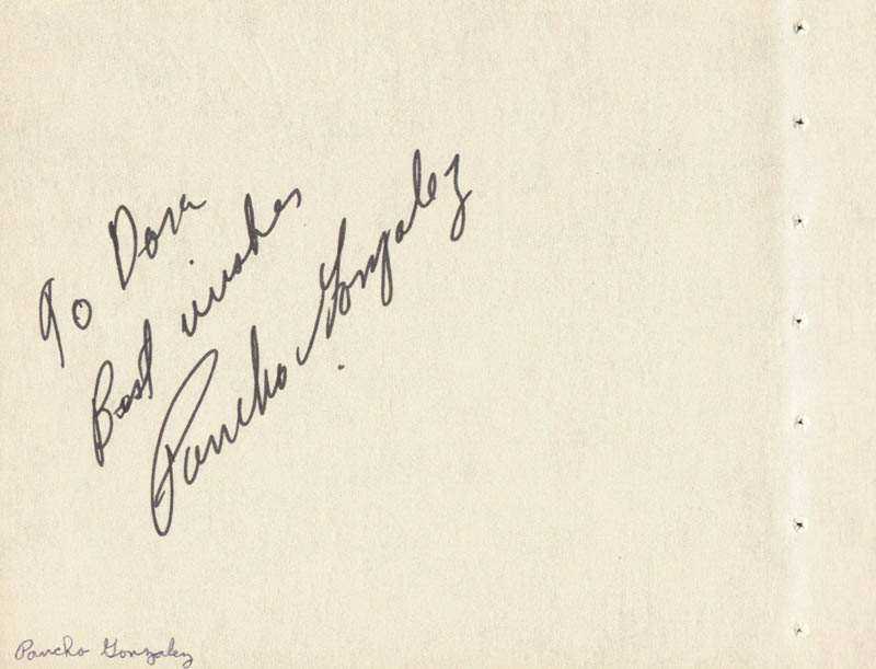 Image 1 for Pancho Gonzalez - Autograph Note Signed co-signed by: Alfie Howard - HFSID 59335
