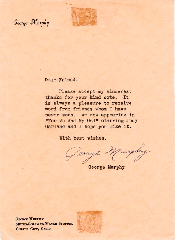 Image 1 for George Murphy - Typed Letter Signed - HFSID 59388