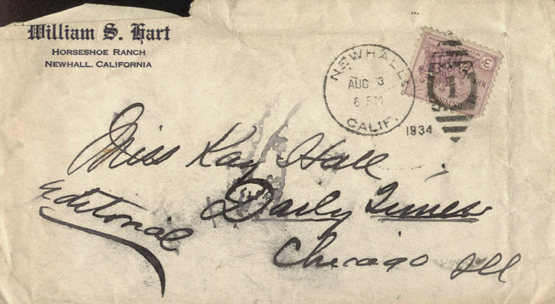 Image 1 for William S. Hart - Autograph Envelope Unsigned 08/03/1934 - HFSID 595