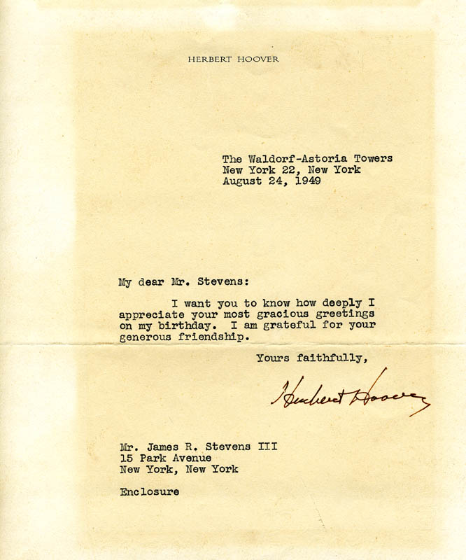 Image 1 for President Herbert Hoover - Typed Letter Signed 08/24/1949 - HFSID 5982