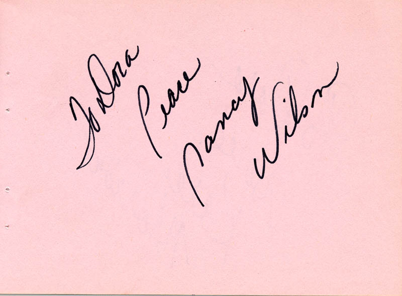 Image 1 for Nancy Wilson - Autograph Note Signed Circa 1971 co-signed by: Karen Morrow - HFSID 63277