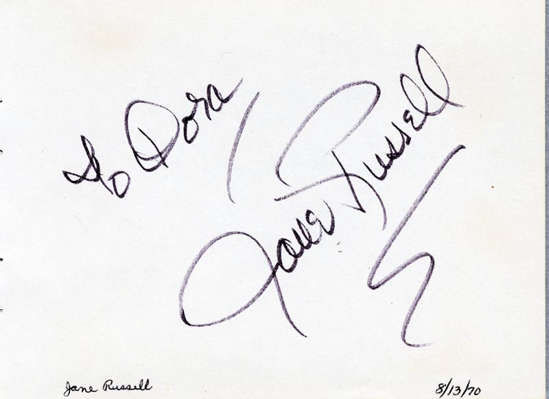 Image 1 for Jane Russell - Inscribed Signature Circa 1970 co-signed by: David Brinkley - HFSID 63450