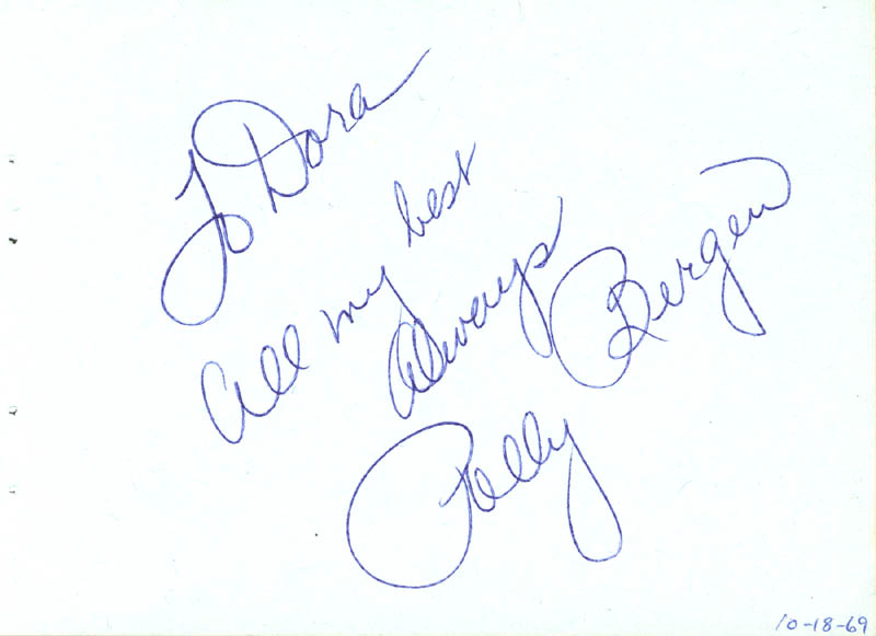 Image 1 for Polly Bergen - Autograph Note Signed Circa 1969 co-signed by: Marion Marlowe - HFSID 63455