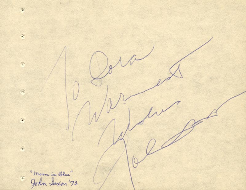 Image 1 for John Saxon - Autograph Note Signed 1972 - HFSID 63578