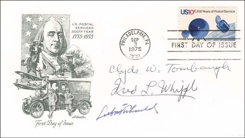 Image 1 for Clyde William Tombaugh - First Day Cover Signed co-signed by: Fred Lawrence Whipple, Lubos Kohoutek - HFSID 63582