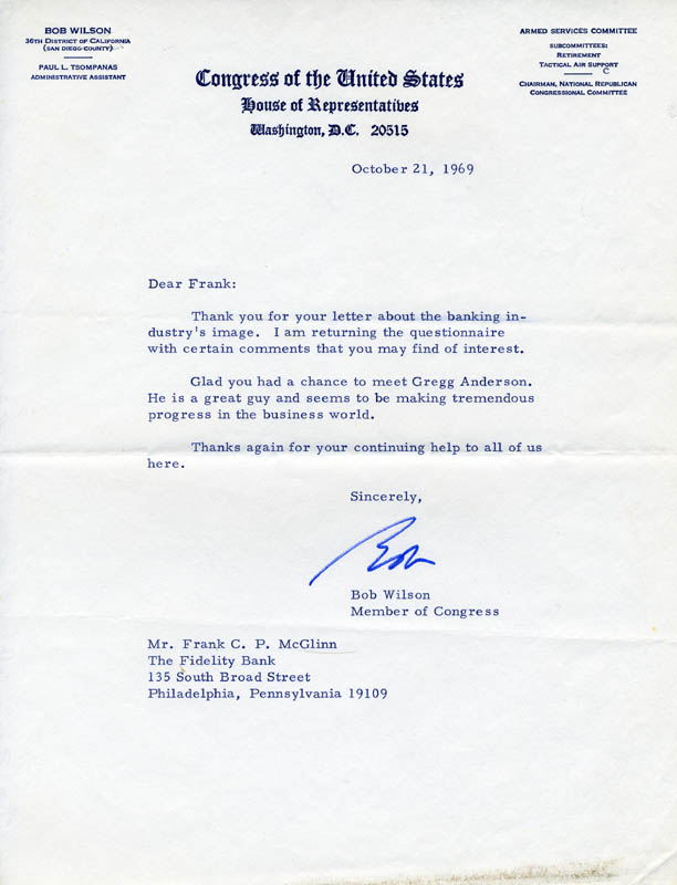 Image 1 for Robert Carlton 'Bob' Wilson - Typed Letter Signed 10/21/1969 - HFSID 65479