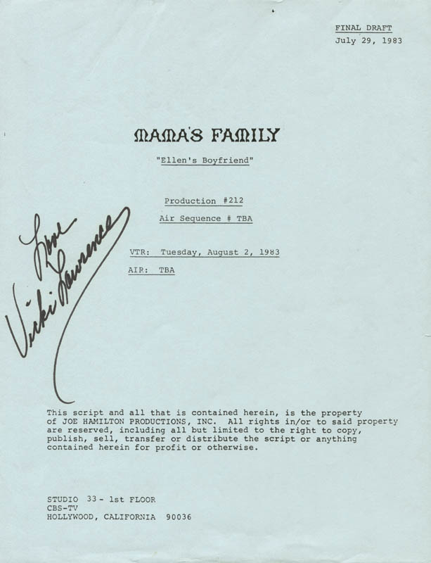 Image 1 for Vicki Lawrence - Script Signed Circa 1983 - HFSID 65618