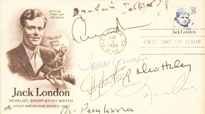 Image 3 for Erskine Caldwell - First Day Cover Signed co-signed by: Stephen King, Isaac Asimov, Robert Penn Warren, Alex Haley, Leon Uris, Edward Albee - HFSID 65894