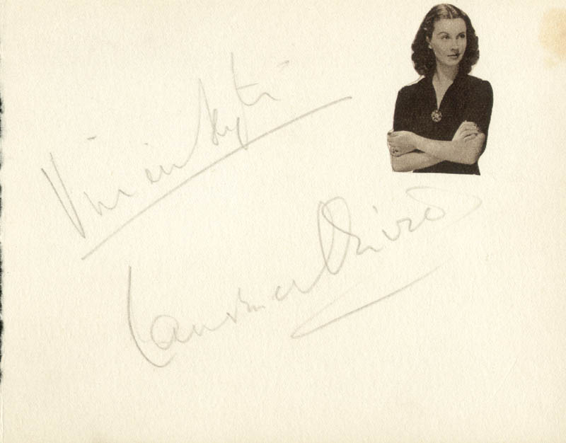 Image 1 for Vivien Leigh - Autograph co-signed by: Laurence Olivier - HFSID 67127