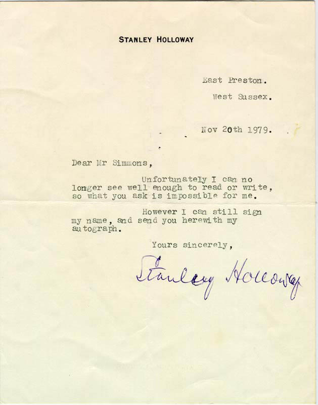 Image 1 for Stanley Holloway - Typed Letter Signed 11/20/1979 - HFSID 67167