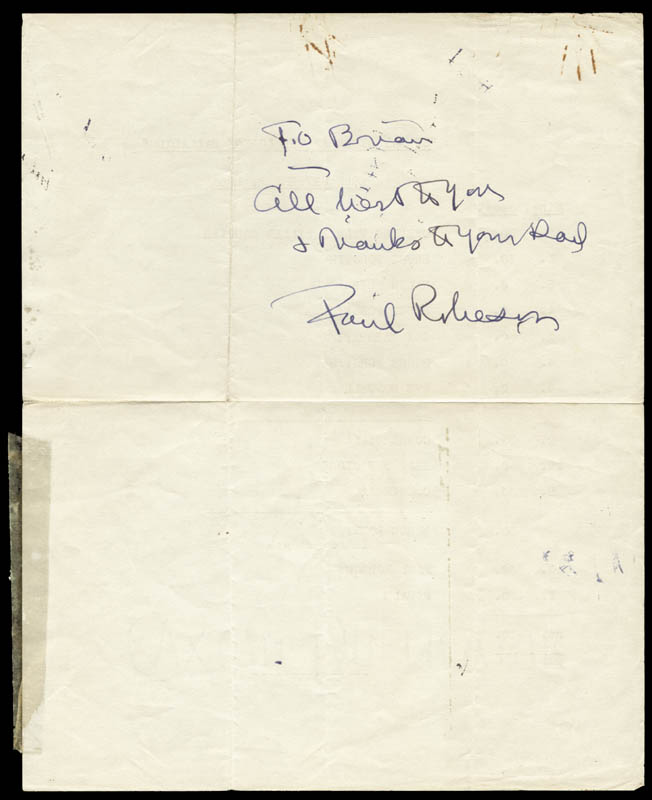 Image 1 for Paul L. Robeson - Autograph Note Signed - HFSID 67275