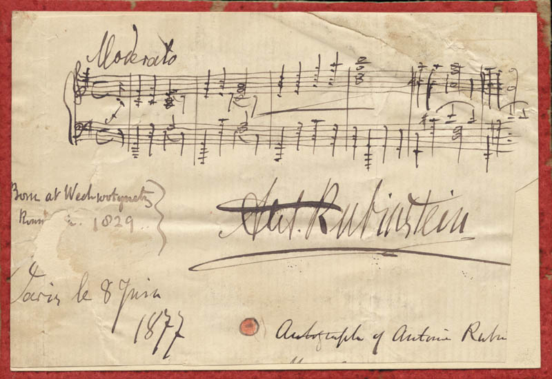 Image 1 for Anton Rubinstein - Autograph Musical Quotation Signed 07/08/1877 - HFSID 67295